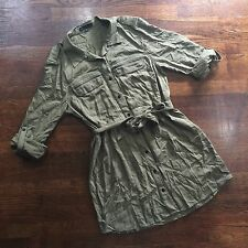 SANCTUARY Womens XL Army Green Canvas Long Sleeve Mini Shirt Dress Tie Waist