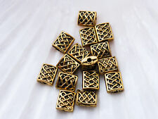 40 x Spacer Beads 8mm x 6mm Antique Gold LF NF, Rectangular Bead Chinese Knot