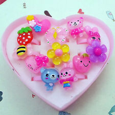 12Pcs Children Cute Cartoon Animal Resin Rings Heart Shape Box Decor Rings