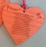 Personalised memorial Engraved Heart Shape wood christmas tree decoration Plaque