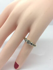 Diamond 3 Stone Engagement Ring Diamond Band 10K Yellow Gold 1 Carat Size 4 1/2