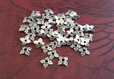 Antique Silver Flower Bead Caps (50) - P122  Jewelry Finding