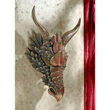Medieval Scaled Armor Dragon Head Trophy Gothic Wall Sculpture