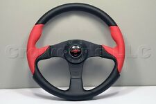 Nardi Personal Thunder Steering Wheel - 350mm - Black / Red Perforated Leather