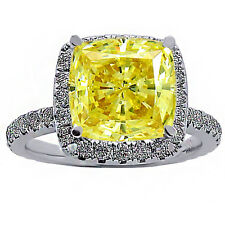 2.39 CARAT CUSHION FANCY YELLOW DIAMOND HALO ENGAGEMENT RING 18K WHITE GOLD