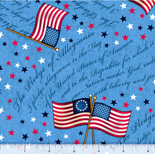 LONG MAY SHE WAVE FLAG TOSS PLEDGE OF Allegiance 100% cotton fabric by the yard