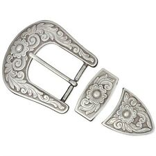 "3/8"" Antique Silver Finish Diablo Buckle Set - 3 8"" Plated Tandy Leather Craft"