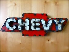 RECYCLED SCRAP METAL CHEVY SIGN bar rustic cabin auto man cave garage Chevrolet