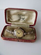 LADIES VINTAGE .375 9CT GOLD MANUAL WINDING ROLEX WRIST WATCH + PERIOD BOX