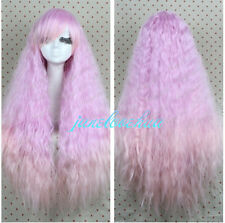 New Lolita Light pink Long Curly Cosplay Anime Hair Full Wigs + wig cap