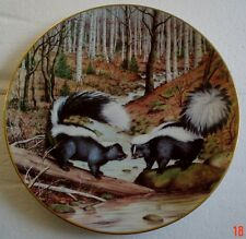Franklin Porcelain Collectors Plate STRIPED SKUNKS AT A MARCH STREAM