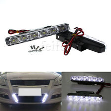 2PCS White 6 LED Car Light DRL Daytime Running Driving Head Lamp Super Bright