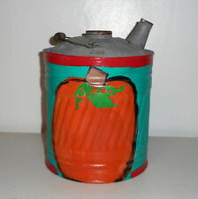 Folk Art Pumpkin on Vintage Galvanized Oil Can Prim Fall Autumn Decor Red Teal