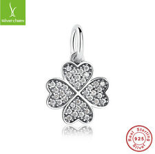 Four-Leaf Clover Pendant Charms With Authentic 925 Silver Pave CZ Jewelry Beads