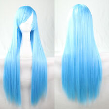 Light Blue Long Straight Cosplay Wig High Quality Hair Women Resistant Full Wig