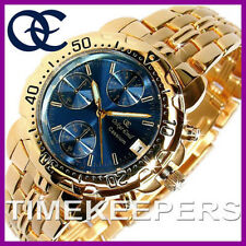 Gents Mens Oskar Emil Caesium 23K Gold Chronograph Sports Blue Dial Watch £345