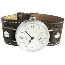 16mm Fluco Vigo Brown Riveted Leather German Military Wire Lug Watch Band Strap