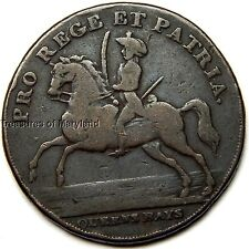 "Revolutionary War Era! 1790's ""Soldier on Horseback"" British Halfpenny sku #BC1"