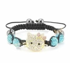 Hello Kitty Inspired Shamballa Bracelet in Sky Blue Crystals