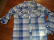 UPROAR BLUE WHITE PLAID BUTTON DOWN 3/4 OR LONG SLEEVE WESTERN DRESS SHIRT - M