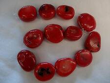 "8"" Strand Dyed Red Coral 15.25-19mm Long Oval Beads A964 DNG"