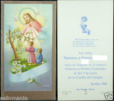 OLD FIRST COMMUNION REMEMBRANCE HOLY CARD YEAR 1969 ANDACHTSBILD SANTINI   C1068