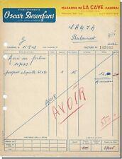 Facture - Oscar Desenfans magasins de la cave à cambrais 1953