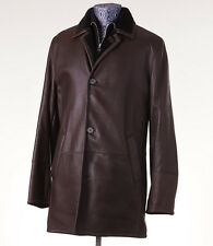 NWT $8600 CESARE ATTOLINI Shearling-Lined Mid-Length Leather Jacket 48/38R (M)