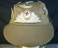 NEW RUSSIAN USSR MILITARY EARFLAP HAT WITH 2 PATCHES & 16 PINS EURO SIZE 57