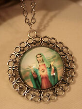 Lovely Round Picot Rim Immaculate Heart Blessing Medal Silvertn Pendant Necklace