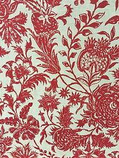 DURALEE ANANYA RED Floral botanical print on neutral linen Fabric By the Yard