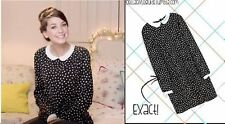 ZARA POLKA DOT PETER PAN COLLAR BLACK DRESS SIZE M