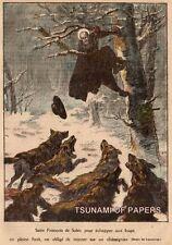 IMAGE 1923 PRINT SAINT FRANCIS DE SALES ECHAPPANT LOUP WOLVES ESCAPING TREE ARBR