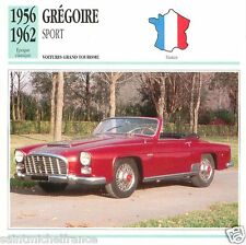 GREGOIRE SPORT 1956 1962 CAR  VOITURE FRANCE CARTE CARD FICHE