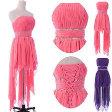 Sexy Damen Kurz Front Rosa Cocktail Ballkleid Partykleid Abendkleid Prom Kleid