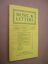 MUSIC & LETTERS. APRIL 1974. QUARTERLY JOURNAL. OUP. J A WESTRUP