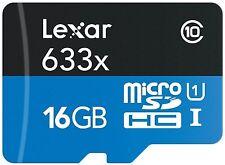 16GO Lexar MicroSD Class 10 95MB/S 16GB SDHC Memory Card 633X UHS-1 U1 Genuine