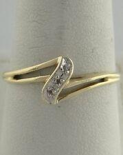 LADIES 10K YELLOW GOLD 0.02ct ROUND DIAMOND BAND RING FINE JEWELRY 8mm