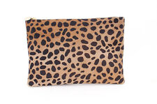 CLARE VIVIER V Flat Leopard Calf Hair Clutch Brown Animal Print Pouch Purse