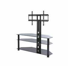 "tv stand with swivel mount bracket for 32 - 65"" inch LCD LED tv black glass"