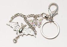 Silver Tone Enamel Wing Crystal Rhinestone Bat Butterfly Fly Clip Hook Key Chain