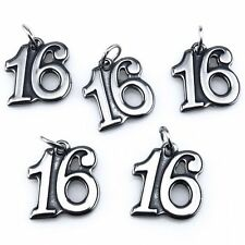 21231 1pc Antique Pewter Stainless Steel Figure Number 16 Pendant Charms Girls