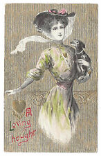Valentine Postcard Beautiful Woman with Dog Embossed Gold Moire Winsch Back 1911