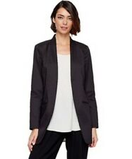 16 NWT EILEEN FISHER  BLACK POLISHED RAMIE LONG JACKET