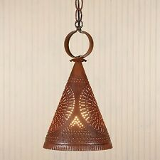 Madison Witch's Hat in Rustic Tin | Primitive Hanging Pendant Ceiling Light