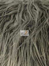 "FAUX FAKE FUR SOLID MONGOLIAN LONG PILE FABRIC - Gray - 60""  SOLD BY THE YARD"