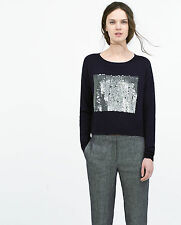 ZARA NAVY BLUE SEQUINNED SQUARE CROPPED KNITWEAR SWEATER SIZE M - BNWT