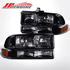 BLACK / AMBER BUMPER+CRYSTAL STYLE HEADLIGHTS - CHEVY BLAZER / S10 PICK UP 98-04