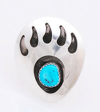Navajo Handmade Sterling Silver with Turquoise Bear Paw Ring Size 8