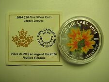 2014 Proof $20 Maple Leaves-Glow in the Dark Canada COIN&COA ONLY .9999 silver t